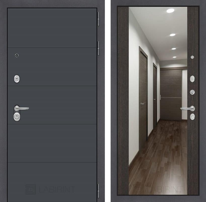 Входная металлическая дверь Лабиринт Арт с Зеркалом Максимум (Графит софт / Венге)
