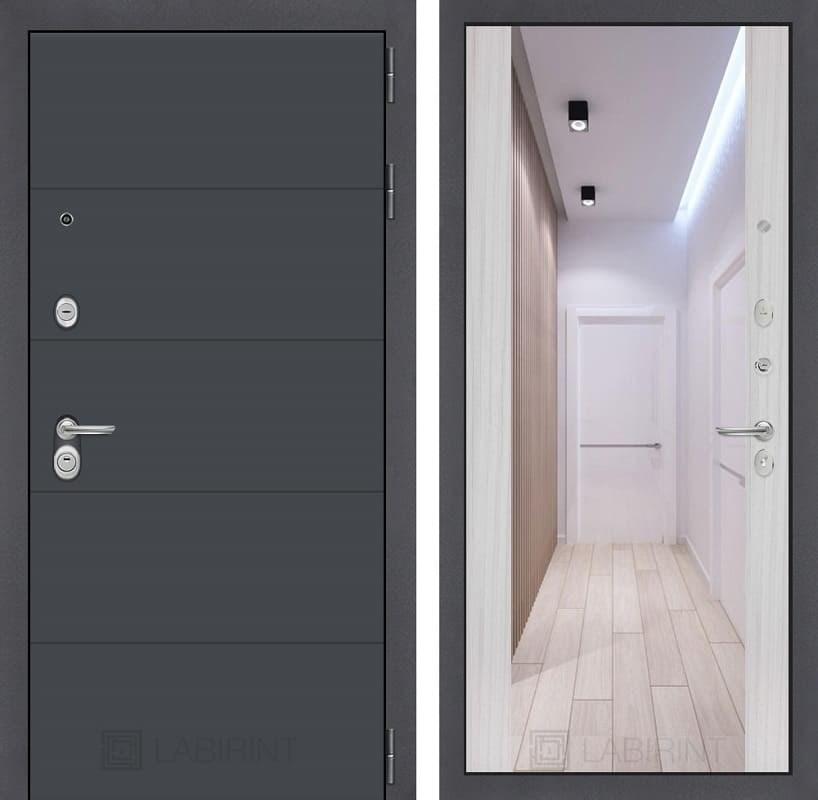 Входная металлическая дверь Лабиринт Арт с Зеркалом Максимум (Графит софт / Сандал белый)
