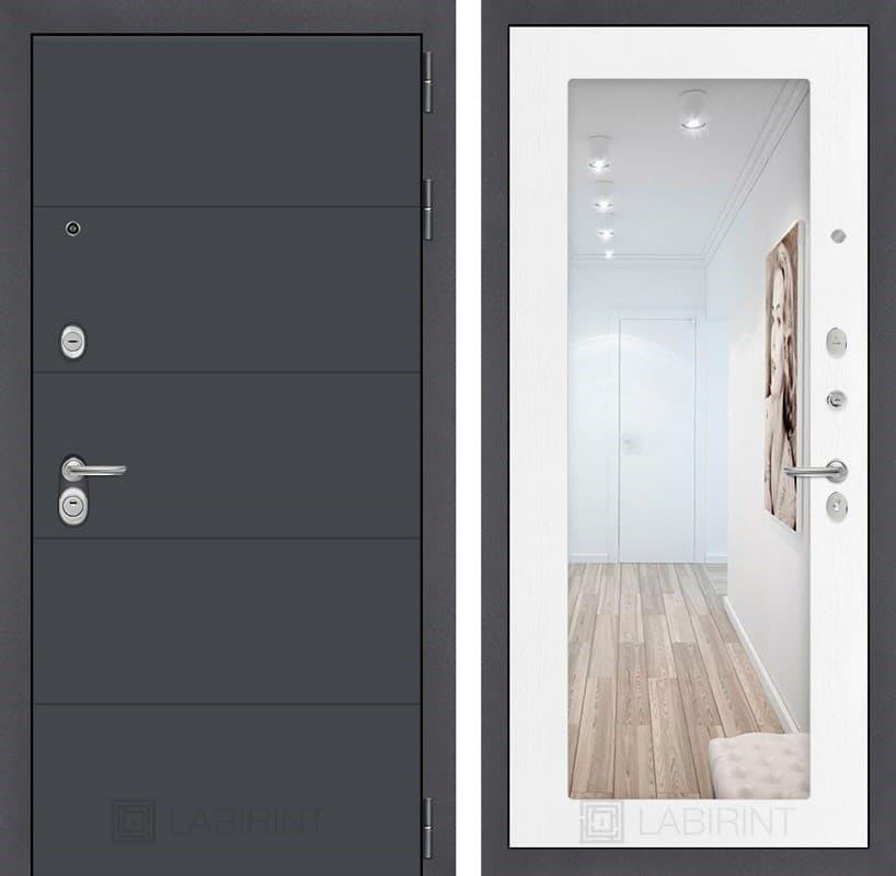 Входная металлическая дверь Лабиринт Арт с Зеркалом 18 (Графит софт / Белое дерево)