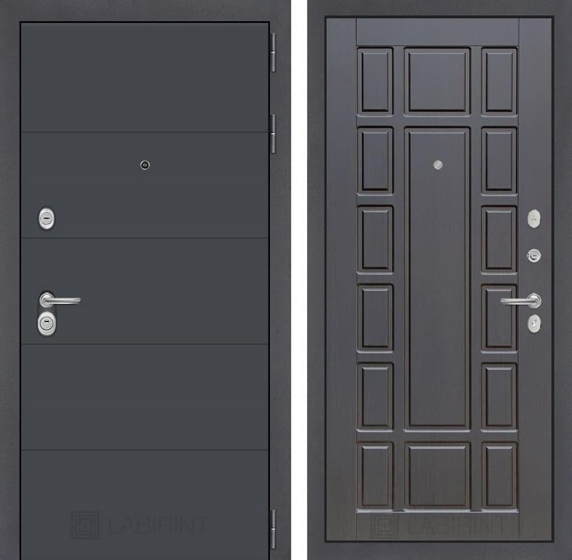 Входная металлическая дверь Лабиринт Арт 12 (Графит софт / Венге)