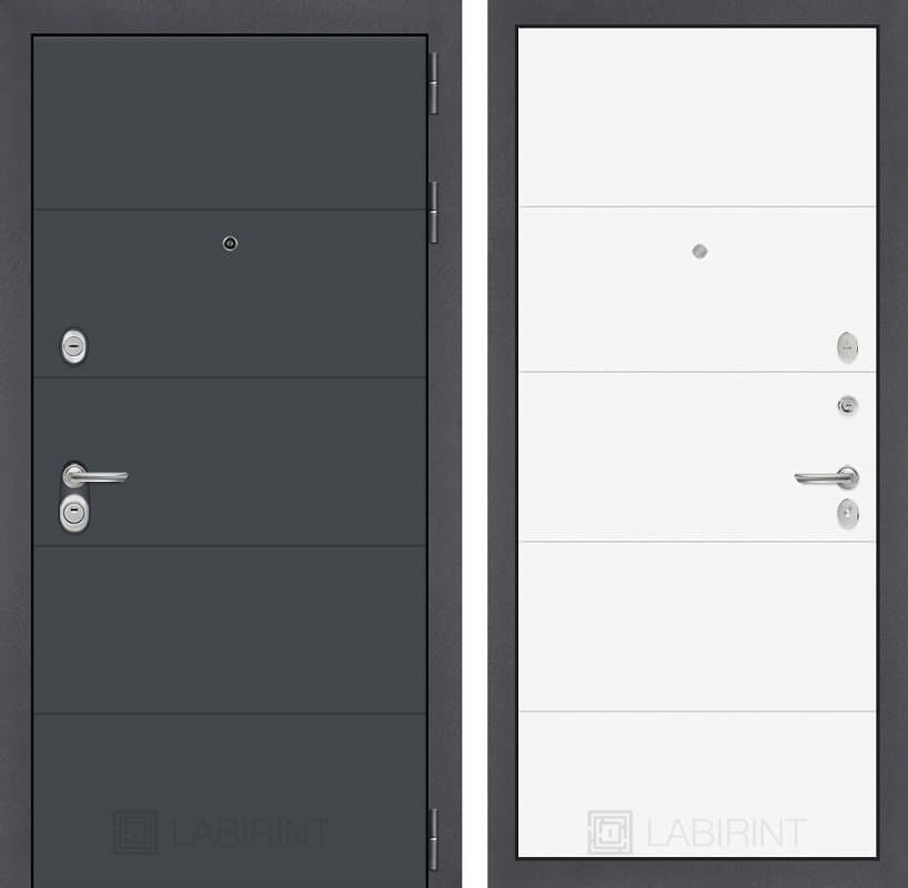 Входная металлическая дверь Лабиринт Арт 13 (Графит софт / Белый софт)
