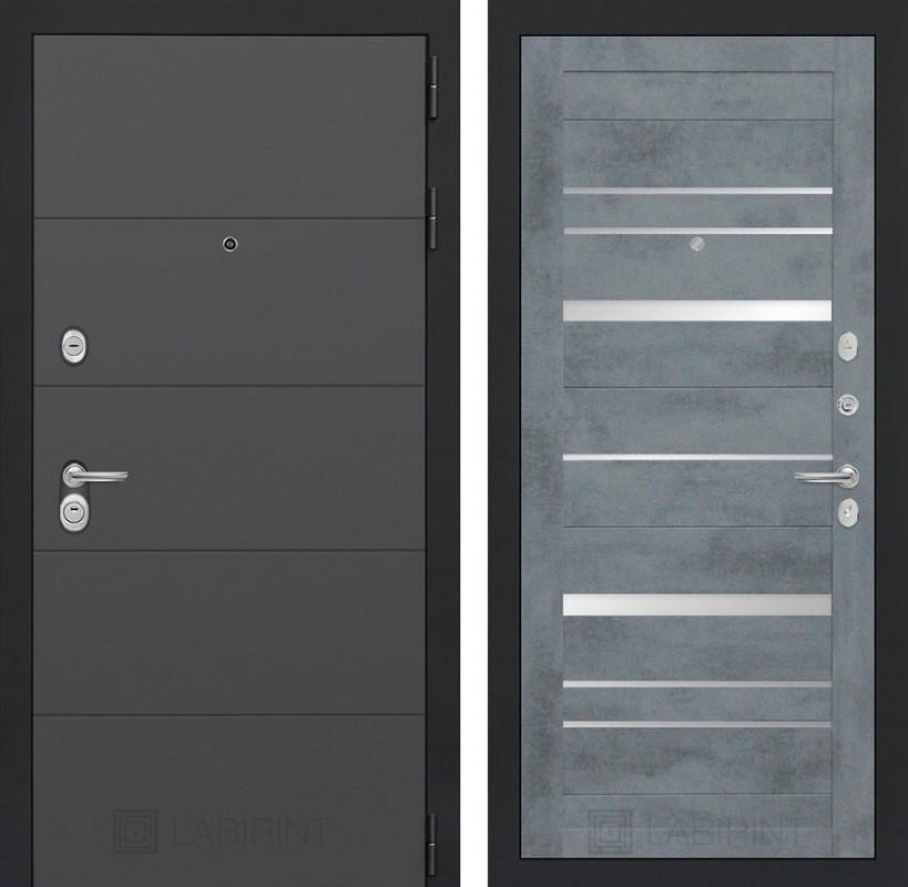 Входная металлическая дверь Лабиринт Арт 20 (Графит софт / Бетон темный)