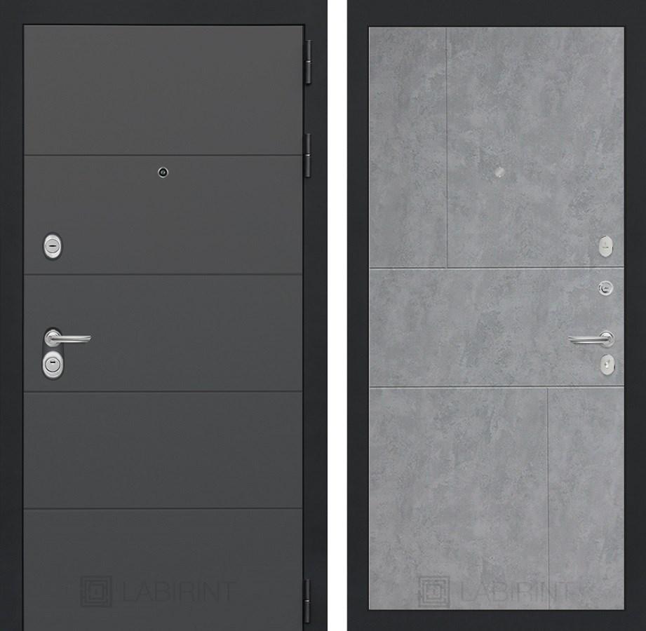 Входная металлическая дверь Лабиринт Арт 21 (Графит софт / Бетон светлый)