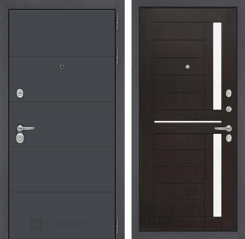 Входная металлическая дверь Лабиринт Арт 2 (Графит софт / Венге)