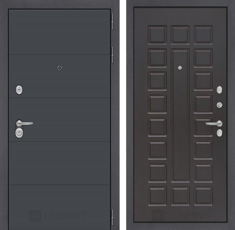 Входная металлическая дверь Лабиринт Арт 4 (Графит софт / Венге)