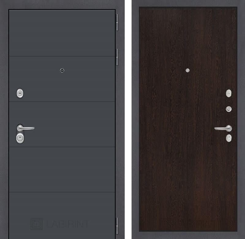 Входная металлическая дверь Лабиринт Арт 5 (Графит софт / Венге)