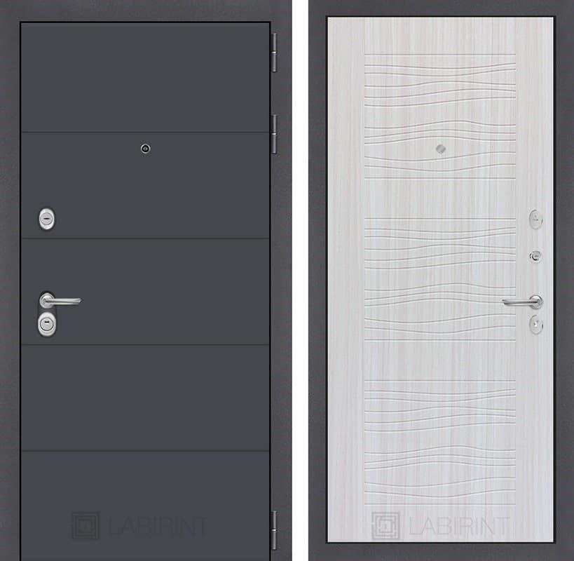 Входная металлическая дверь Лабиринт Арт 6 (Графит софт / Сандал белый)