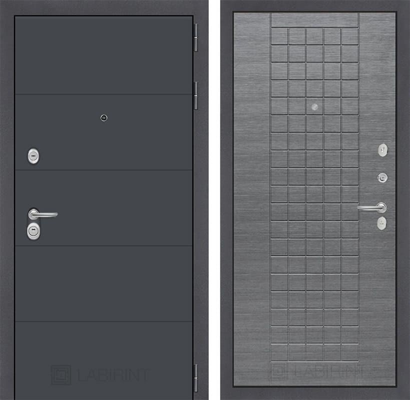 Входная металлическая дверь Лабиринт Арт 9 (Графит софт / Лен сильвер грей)
