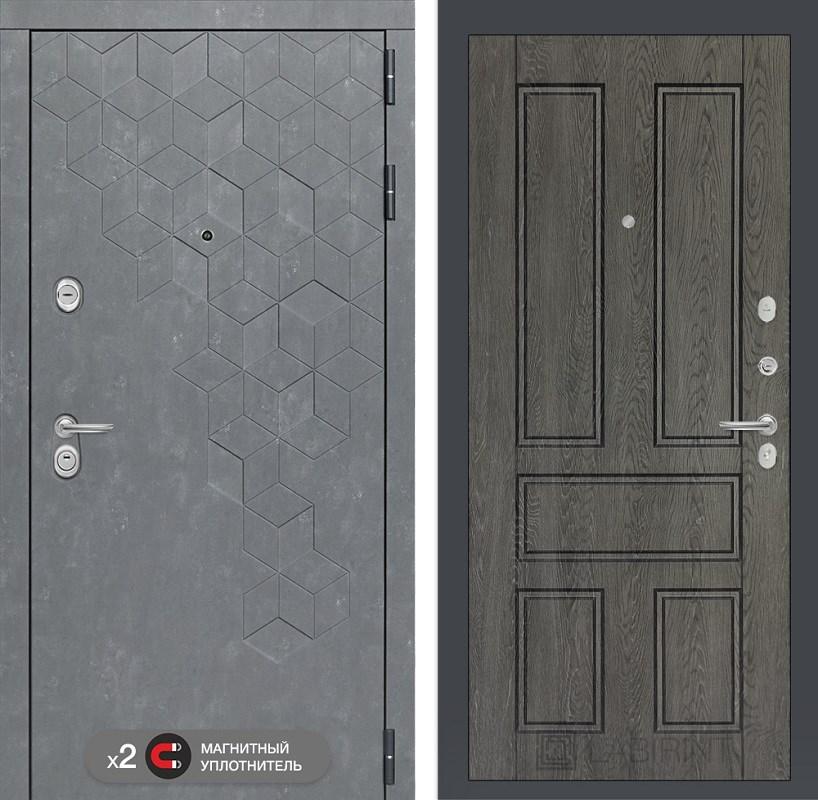 Входная металлическая дверь Лабиринт Бетон 10 (Бетон песочный / Дуб филадельфия графит)
