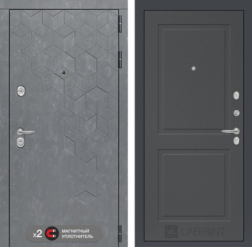 Входная металлическая дверь Лабиринт Бетон 11 (Бетон песочный / Графит софт)