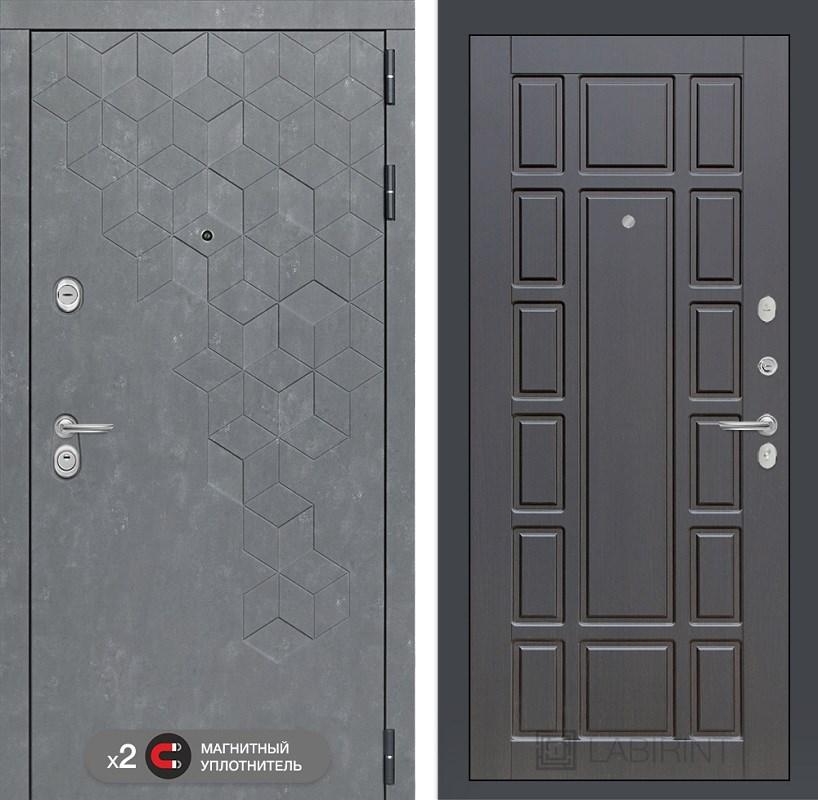 Входная металлическая дверь Лабиринт Бетон 12 (Бетон песочный / Венге)