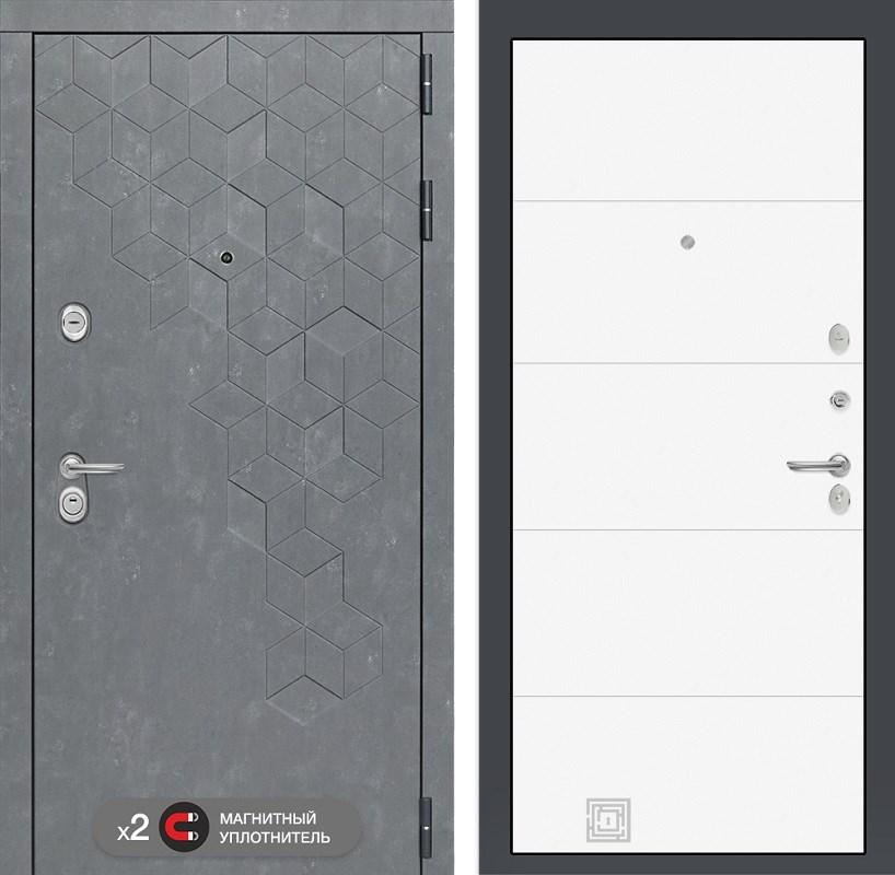 Входная металлическая дверь Лабиринт Бетон 13 (Бетон песочный / Белый софт)