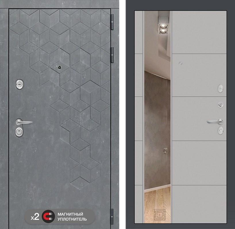 Входная металлическая дверь Лабиринт Бетон 19 Зеркало (Бетон песочный / Грей софт)