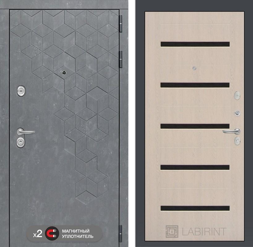 Входная металлическая дверь Лабиринт Бетон 1 (Бетон песочный / Дуб белёный)