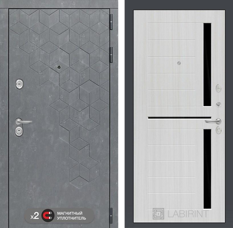 Входная металлическая дверь Лабиринт Бетон 2 (Бетон песочный / Сандал белый)