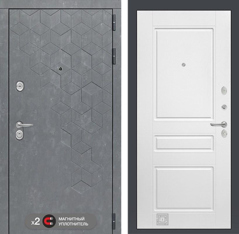 Входная металлическая дверь Лабиринт Бетон 3 (Бетон песочный / Белый софт)
