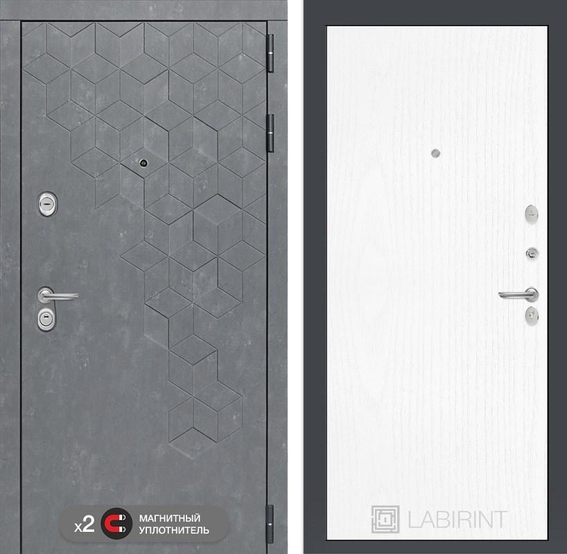 Входная металлическая дверь Лабиринт Бетон 7 (Бетон песочный / Белое дерево)