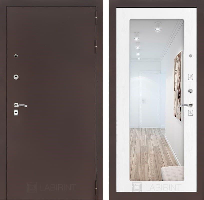 Входная металлическая дверь Лабиринт Классик с Зеркалом 18 (Антик медный / Белое дерево)