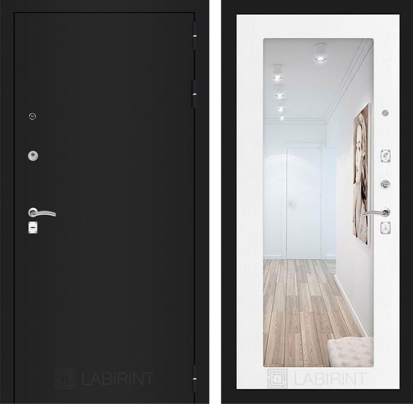 Входная металлическая дверь Лабиринт Классик с Зеркалом 18 (Шагрень черная / Белое дерево)