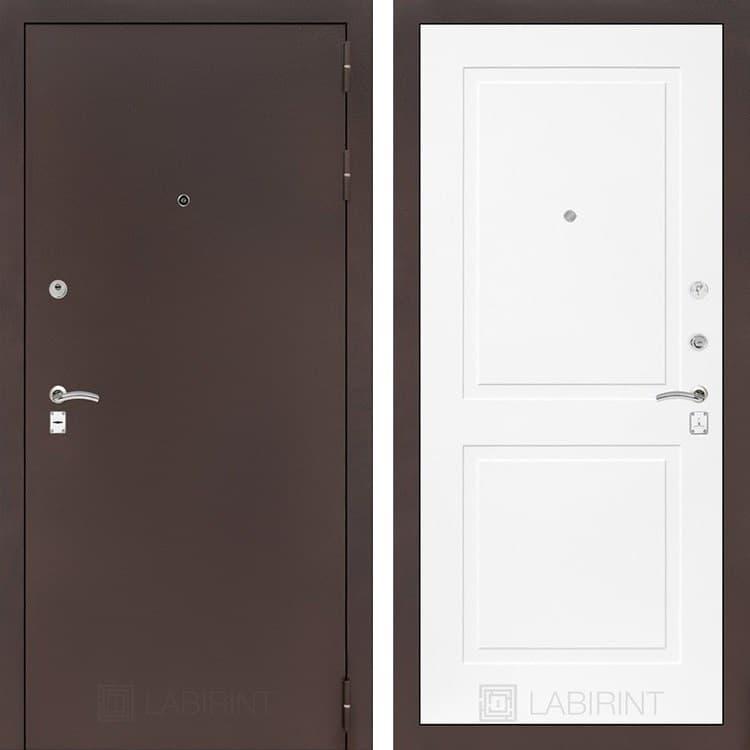 Входная металлическая дверь Лабиринт Классик 11 (Антик медный / Белый софт)
