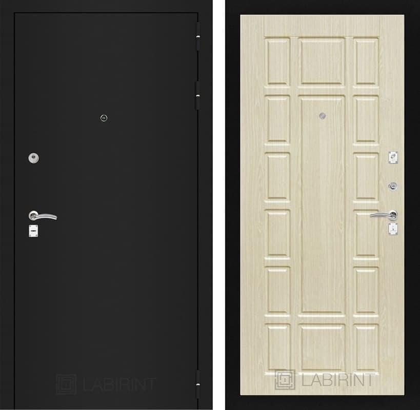 Входная металлическая дверь Лабиринт Классик 12 (Шагрень черная / Дуб беленый)