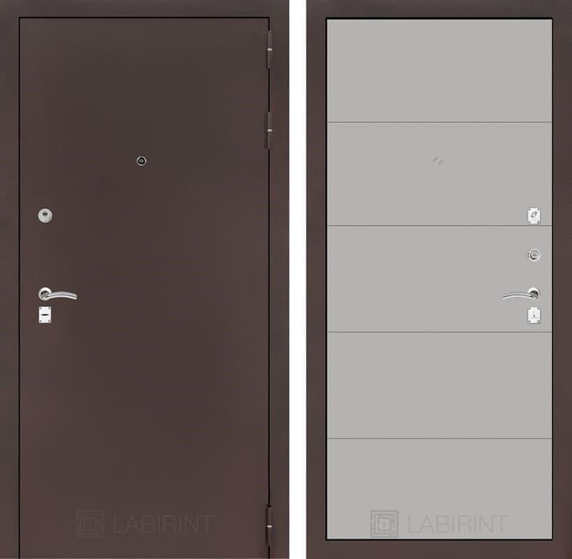 Входная металлическая дверь Лабиринт Классик 13 (Антик медный / Грей софт)