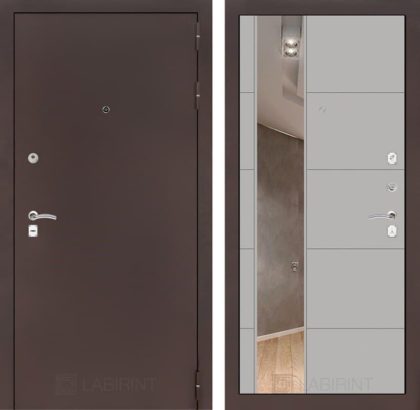 Входная металлическая дверь Лабиринт Классик 19 Зеркало (Антик медный / Грей софт)