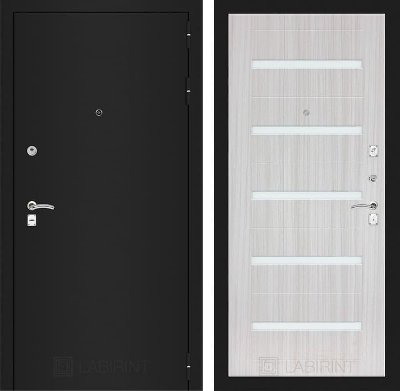 Входная металлическая дверь Лабиринт Классик 1 (Шагрень черная / Сандал белый)