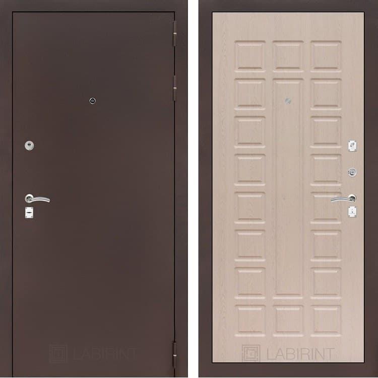 Входная металлическая дверь Лабиринт Классик 4 (Антик медный / Дуб беленый)