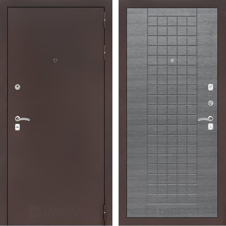 Входная металлическая дверь Лабиринт Классик 9 (Антик медный / Лен сильвер грей)