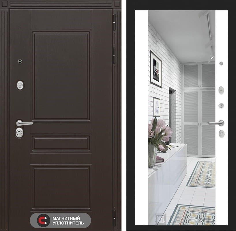 Входная металлическая дверь Лабиринт Мегаполис с Зеркалом Максимум (Венге / Белый софт)