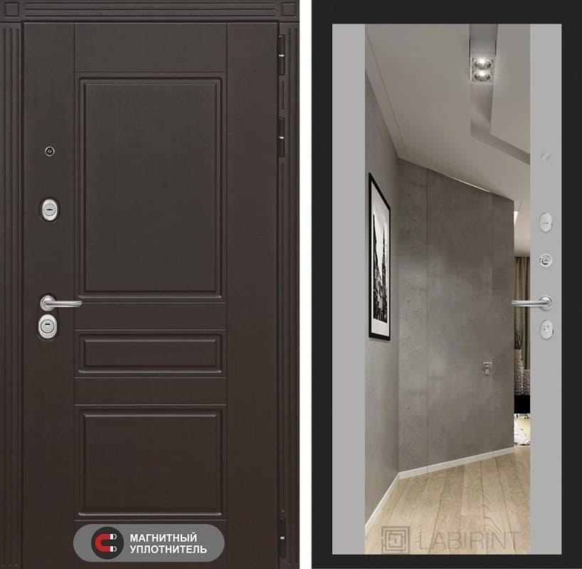 Входная металлическая дверь Лабиринт Мегаполис с Зеркалом Максимум (Венге / Грей софт)
