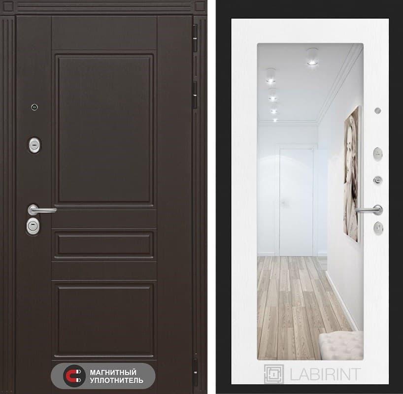 Входная металлическая дверь Лабиринт Мегаполис с Зеркалом 18 (Венге / Белое дерево)