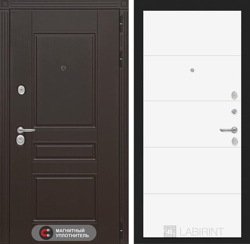 Входная металлическая дверь Лабиринт Мегаполис 13 (Венге / Белый софт)