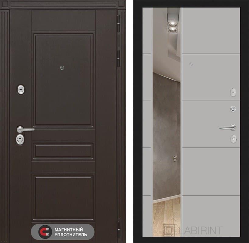Входная металлическая дверь Лабиринт Мегаполис 19 Зеркало (Венге / Грей софт)