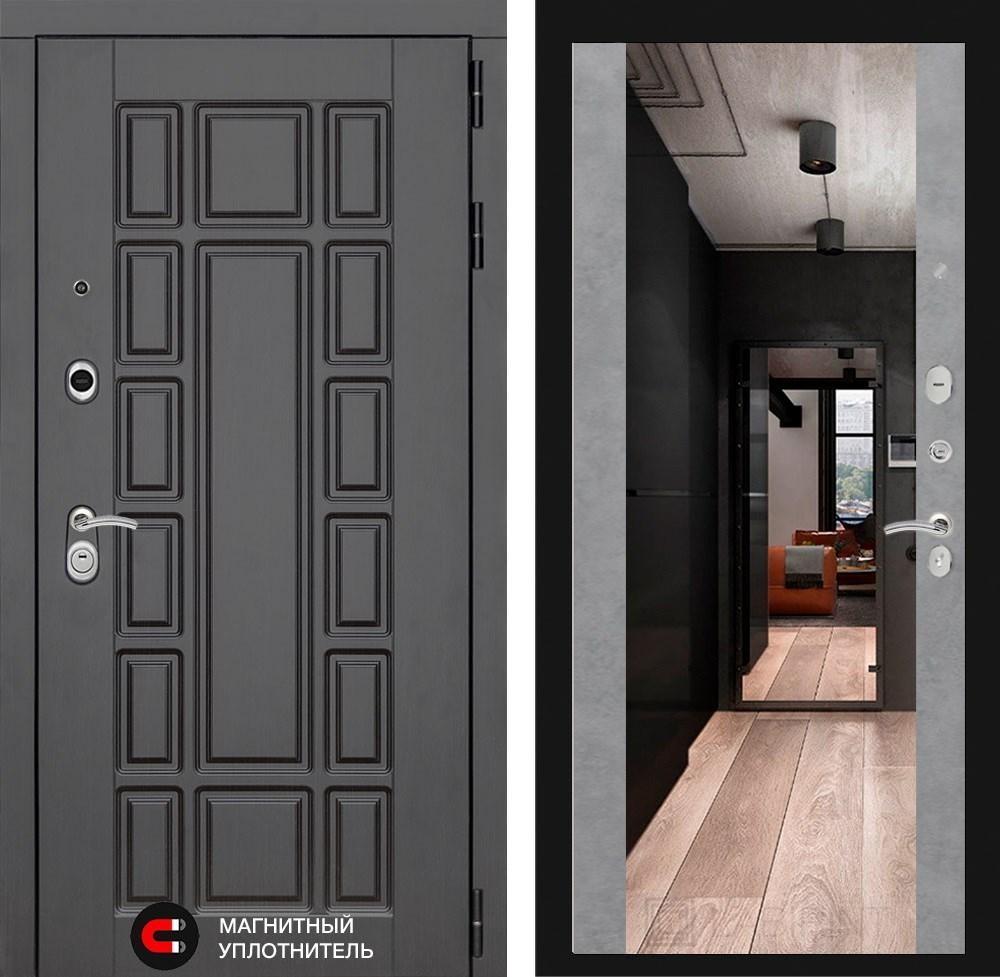Входная металлическая дверь Лабиринт Нью-Йорк с Зеркалом Максимум (Венге / Бетон светлый)