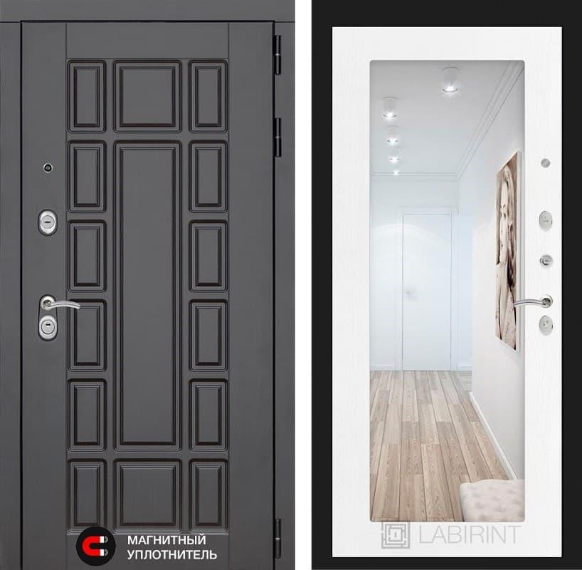 Входная металлическая дверь Лабиринт Нью-Йорк с Зеркалом 18 (Венге / Белое дерево)
