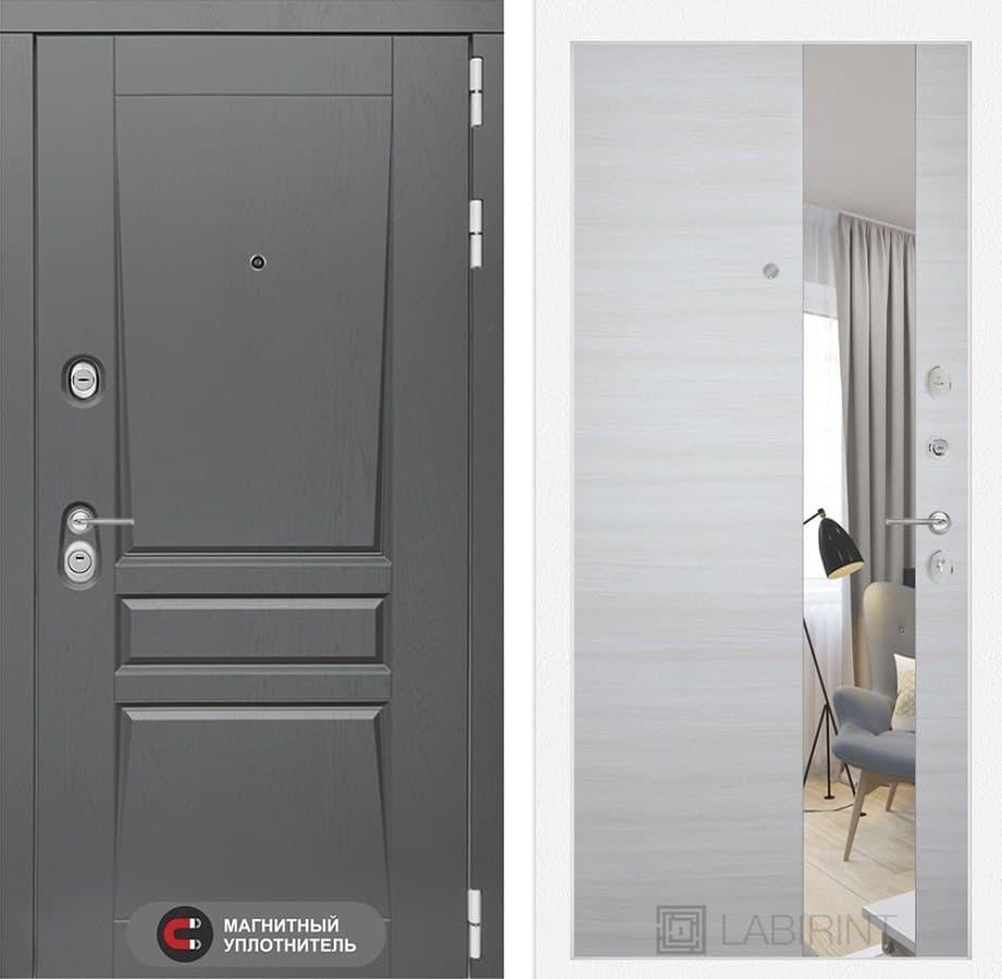 Входная металлическая дверь Лабиринт Платинум Зеркало (Альберо Грей / Акация светлая)