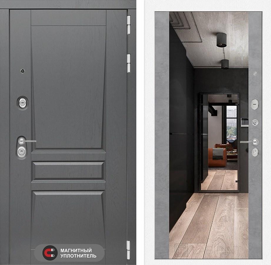 Входная металлическая дверь Лабиринт Платинум Зеркало Максимум (Альберо Грей / Бетон светлый)