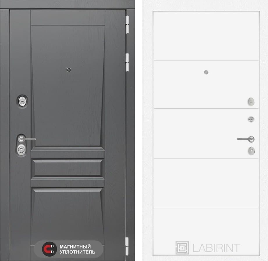 Входная металлическая дверь Лабиринт Платинум 13 (Альберо Грей / Белый софт)