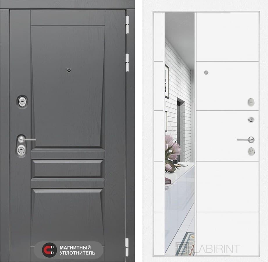 Входная металлическая дверь Лабиринт Платинум 19 Зеркало (Альберо Грей / Белый софт)