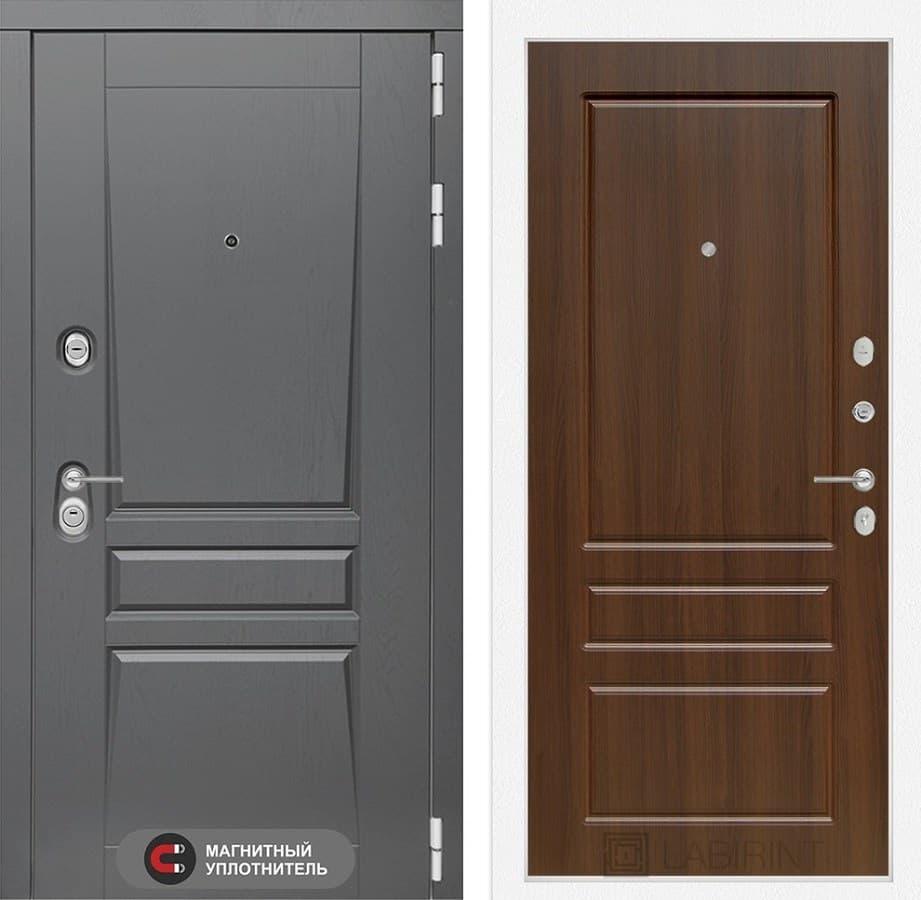 Входная металлическая дверь Лабиринт Платинум 3 (Альберо Грей / Орех бренди)