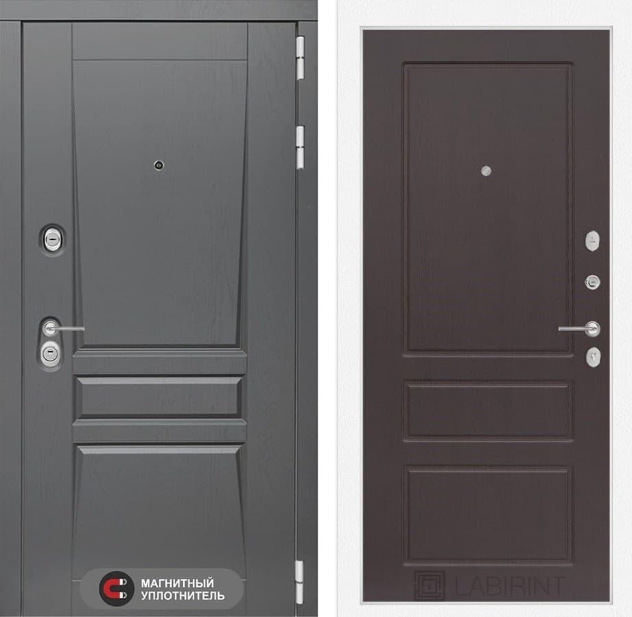 Входная металлическая дверь Лабиринт Платинум 3 (Альберо Грей / Орех премиум)
