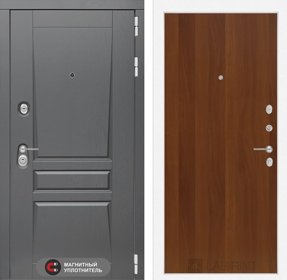 Входная металлическая дверь Лабиринт Платинум 5 (Альберо Грей / Итальянский орех)