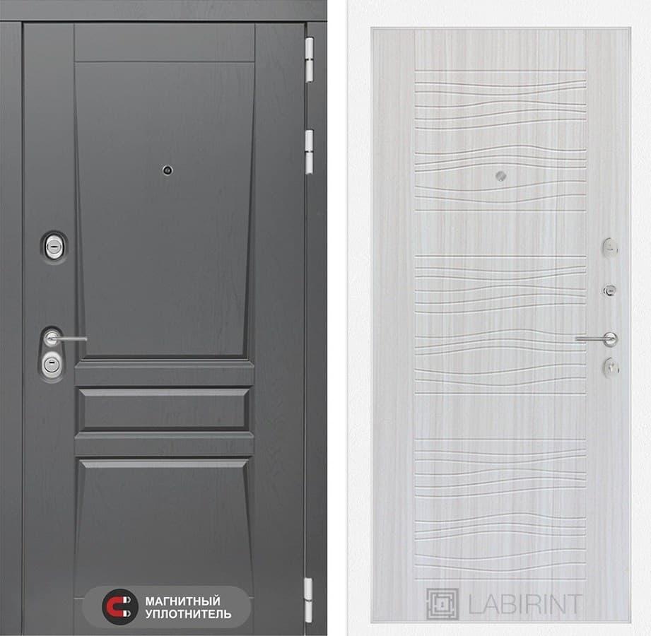 Входная металлическая дверь Лабиринт Платинум 6 (Альберо Грей / Сандал белый)