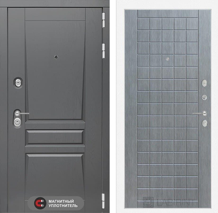 Входная металлическая дверь Лабиринт Платинум 9 (Альберо Грей / Лен сильвер грей)
