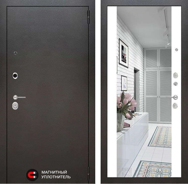 Входная металлическая дверь Лабиринт Сильвер с Зеркалом Максимум (Белый софт)