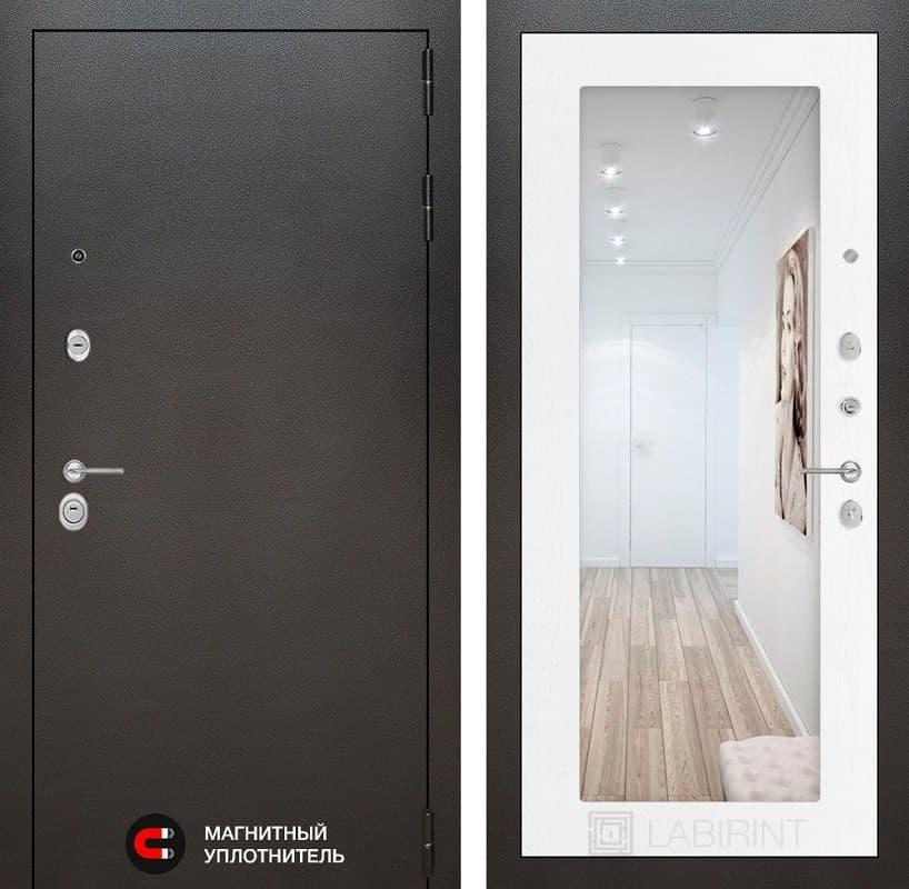 Входная металлическая дверь Лабиринт Сильвер с Зеркалом 18 (Антик темное серебро / Белое дерево)
