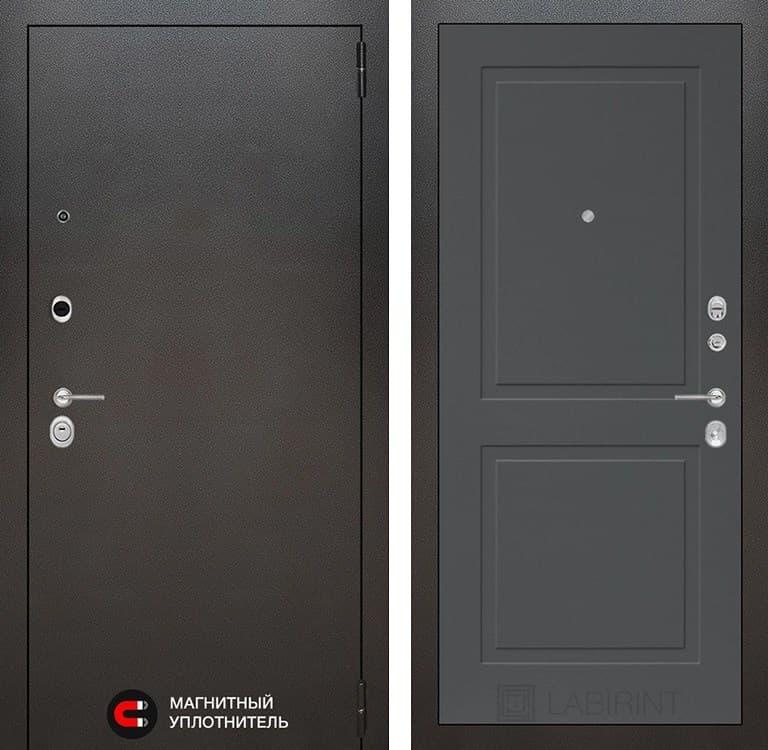 Входная металлическая дверь Лабиринт Сильвер 11 (Антик темное серебро / Графит софт)