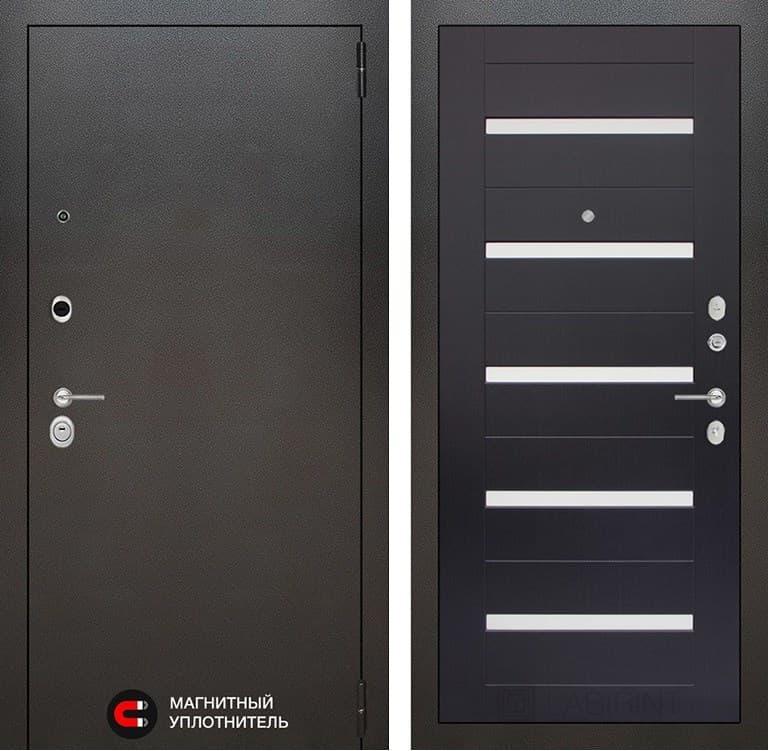 Входная металлическая дверь Лабиринт Сильвер 1 (Антик темное серебро / Венге)